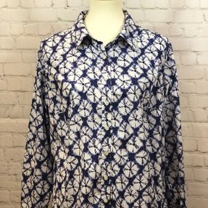 Talbots blue and white blouse with dragonfly 1XP